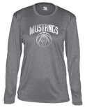 Mustangs - Pro Heather Women's Long Sleeve Tshirt in Various Colors (Grey Design)