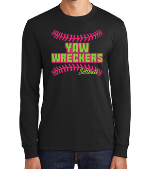 Yaw Wreckers - Youth/Adult Black Long Sleeve Tshirt