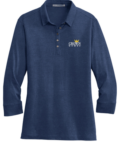 Crown Homes - Ladies 3/4 Sleeve Meridian Cotton Blend Polo (Available in Multiple Colors)