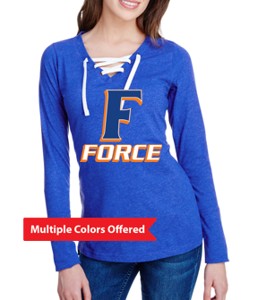 Iowa Elite Force Spring '20 - Ladies Lace-Up Long Sleeve Tshirt (F Design)