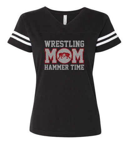 Hammer Time Wrestling - Ladies Football V-Neck Tshirt (Glitter Design)