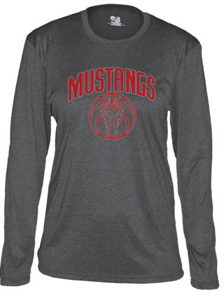 Mustangs - Pro Heather Women's Long Sleeve Tshirt in Various Colors (Red Design)