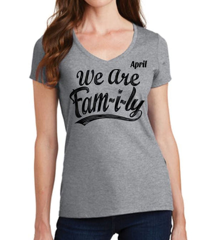 We Are Fam-i-ly - Ladies V-Neck T'Shirt