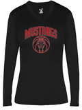 Mustangs - Women's Fitted V-Neck Long Sleeve Tshirt in Various Colors (Red Design)