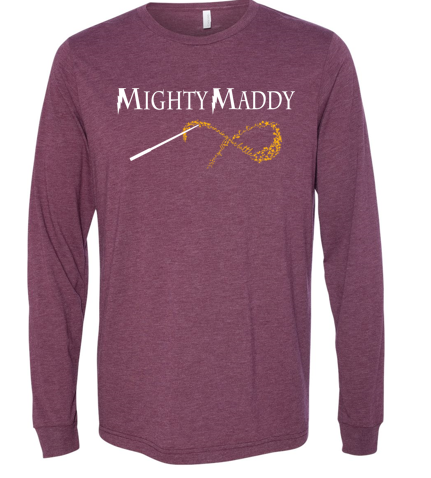 Mighty Maddy - Long Sleeve Tshirt in Various Colors (Youth/Adult)