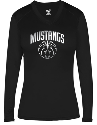 Mustangs - Women's Fitted V-Neck Long Sleeve Tshirt in Various Colors (Grey Design)