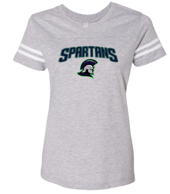 Spartans - Ladies Football V-Neck Jersey Tshirt (Multiple Colors)