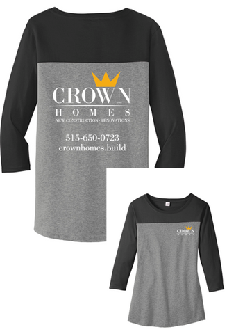 Crown Homes - Ladies Rally 3/4 Sleeve Tee (Available in Multiple Colors)