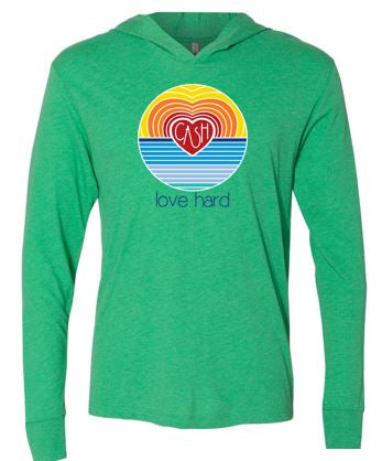 Love Hard - Unisex Triblend Hooded Tshirt (Multiple Colors)