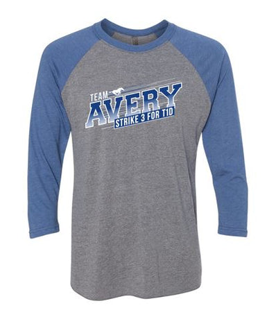 Team Avery - Adult Soft 3/4 Sleeve Baseball Tee