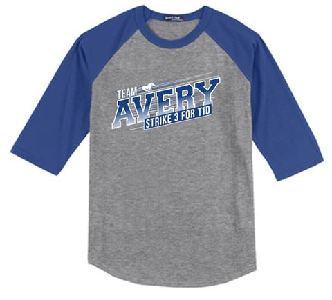 Team Avery - Youth 100% Cotton 3/4 Sleeve Baseball Tee