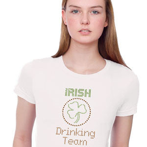 Irish Drinking Team T-Shirt Rhinestones Broken Arrow