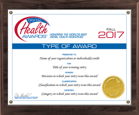 Fall 2017 Digital Health Awards Certificate Mounted in Walnut Plaque