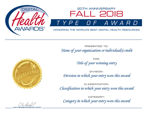 Fall 2018 Digital Health Awards Certificate Reprint