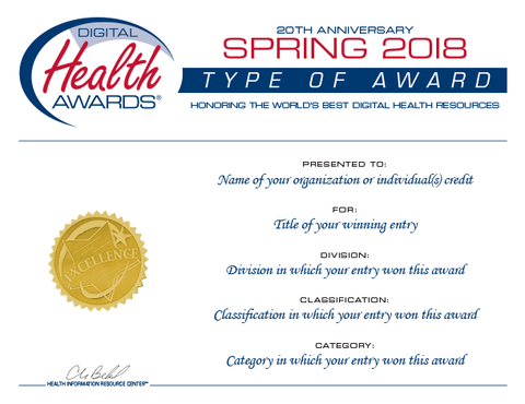 Spring 2018 Digital Health Awards Certificate Reprint