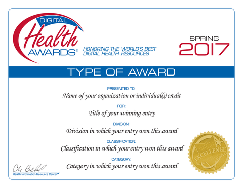 Spring 2017 Digital Health Awards Certificate Reprint