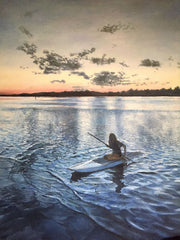 Reflections, a kayak painting by Wilmington, NC artist Rebecca DiMaio