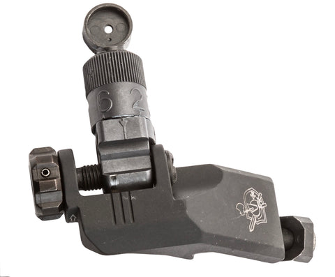 KAC KNIGHT'S ARMAMENT 45 DEGREE OFFSET FOLDING MICRO 600M REAR SIGHT, CLAMP MOUNT KM30878