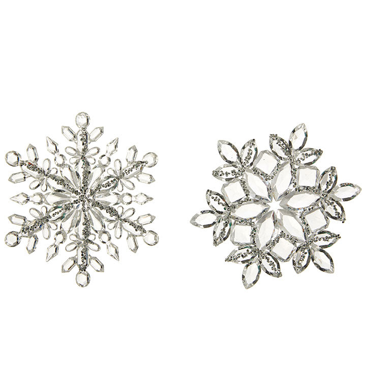 Snowflake Ornament Clear Silver
