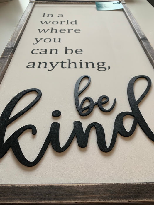 Be Kind 3D Wood Sign Consign