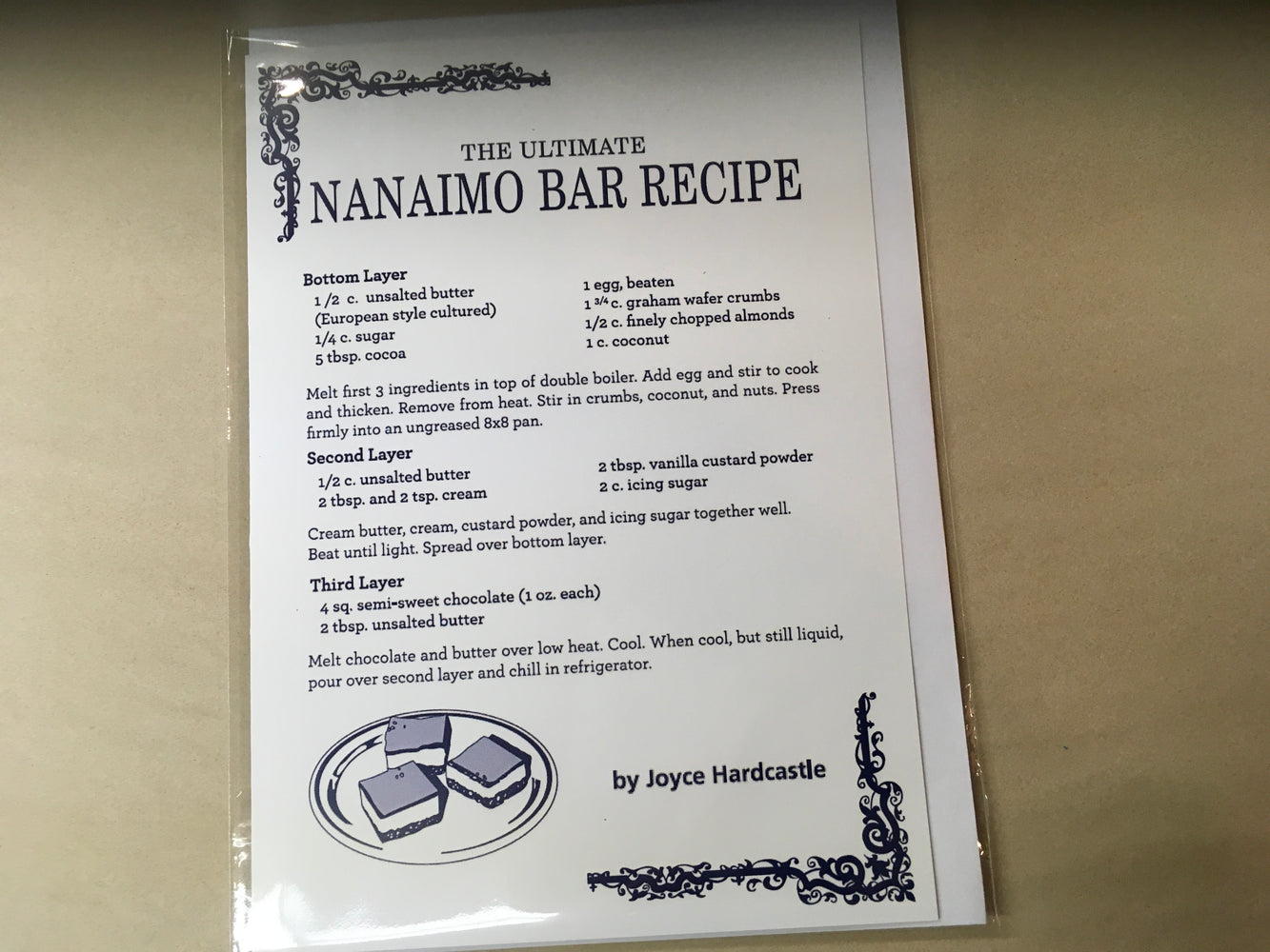 Nanaimo Bar Recipe Card