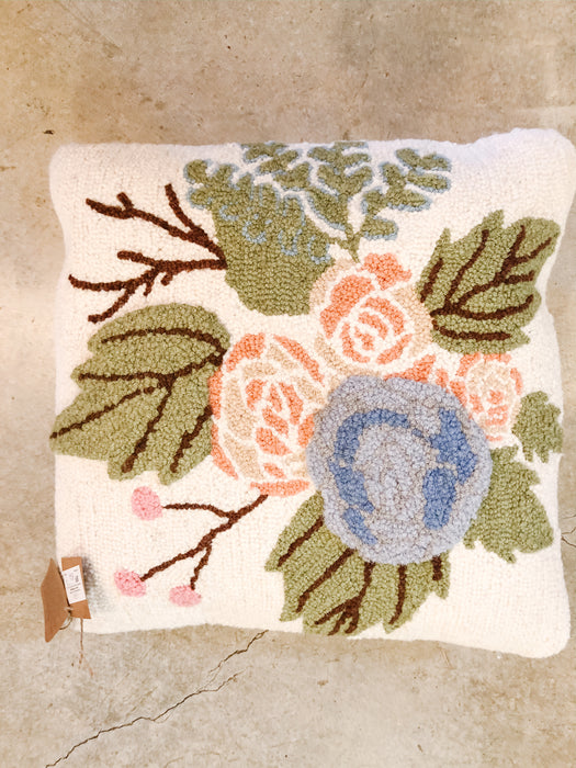 Floral square hooked pillow