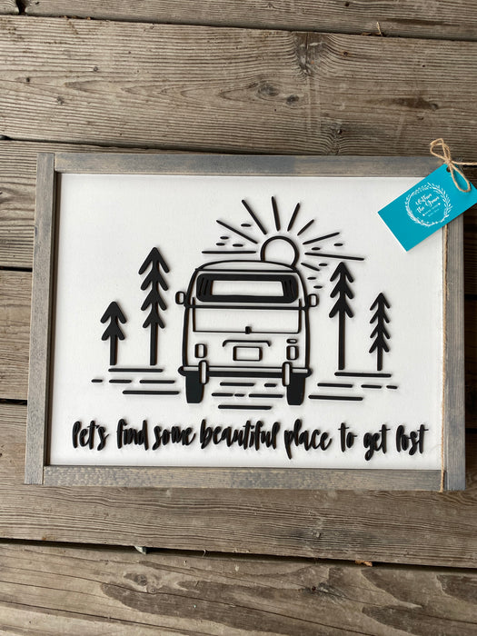 VW Van Sign Lets get Lost 12x16- Consign