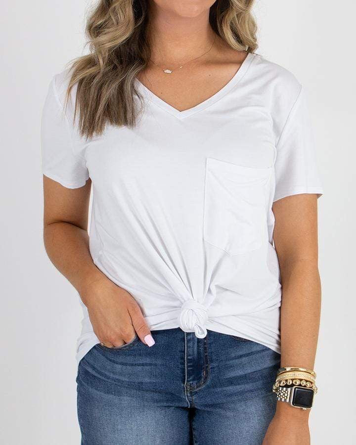 White Perfect Pocket Tee - Heavy Gauge