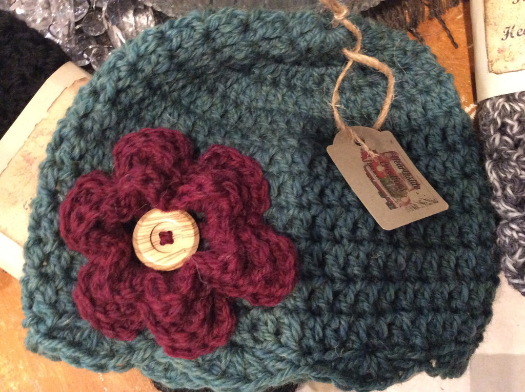 Crocheted Toque with Flower