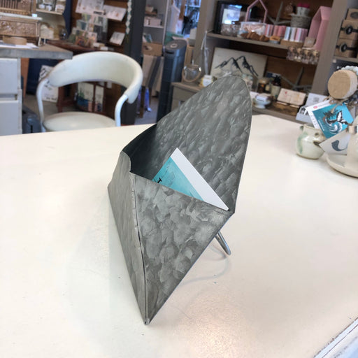 Galvanized letter card holder