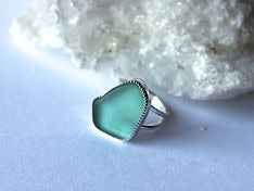Sea glass cocktail ring
