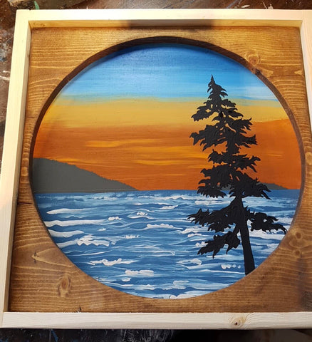 Circle Chesterman tree ocean  Sunset Sign