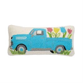 Floral truck hooked pillow