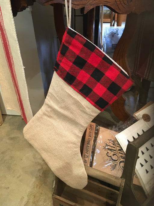 Burlap stocking with checks