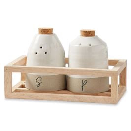 Cream and sand salt and pepper set