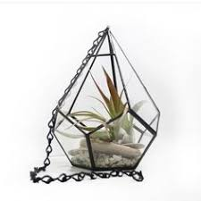 TEAR DROP CHAIN // Medium Hanging Stained Glass Terrarium