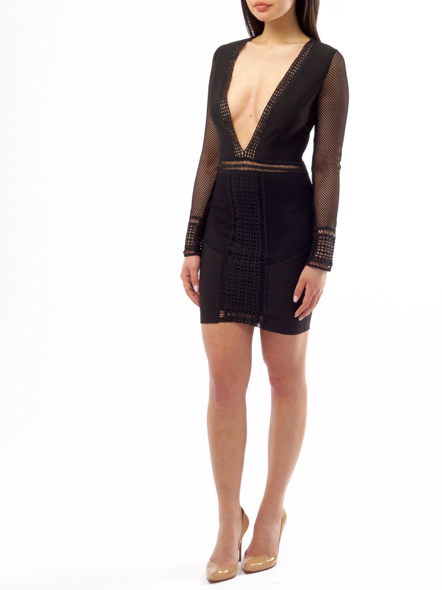 Rita Black Woven Dress - PRADEGAL