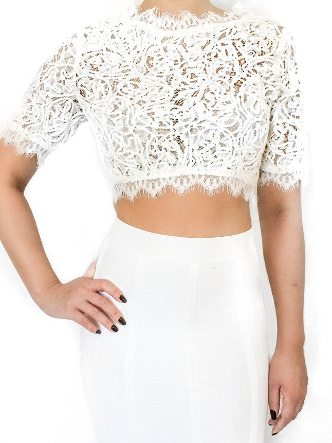 White Detailed Lace Crop Top - PRADEGAL