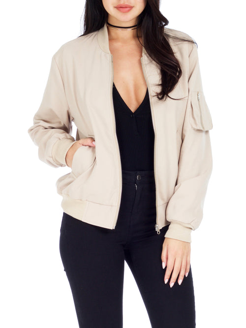 Beige Canvas Bomber Jacket - PRADEGAL