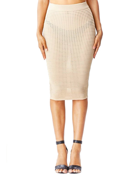 Nude Crochet Knit Midi Skirt - PRADEGAL