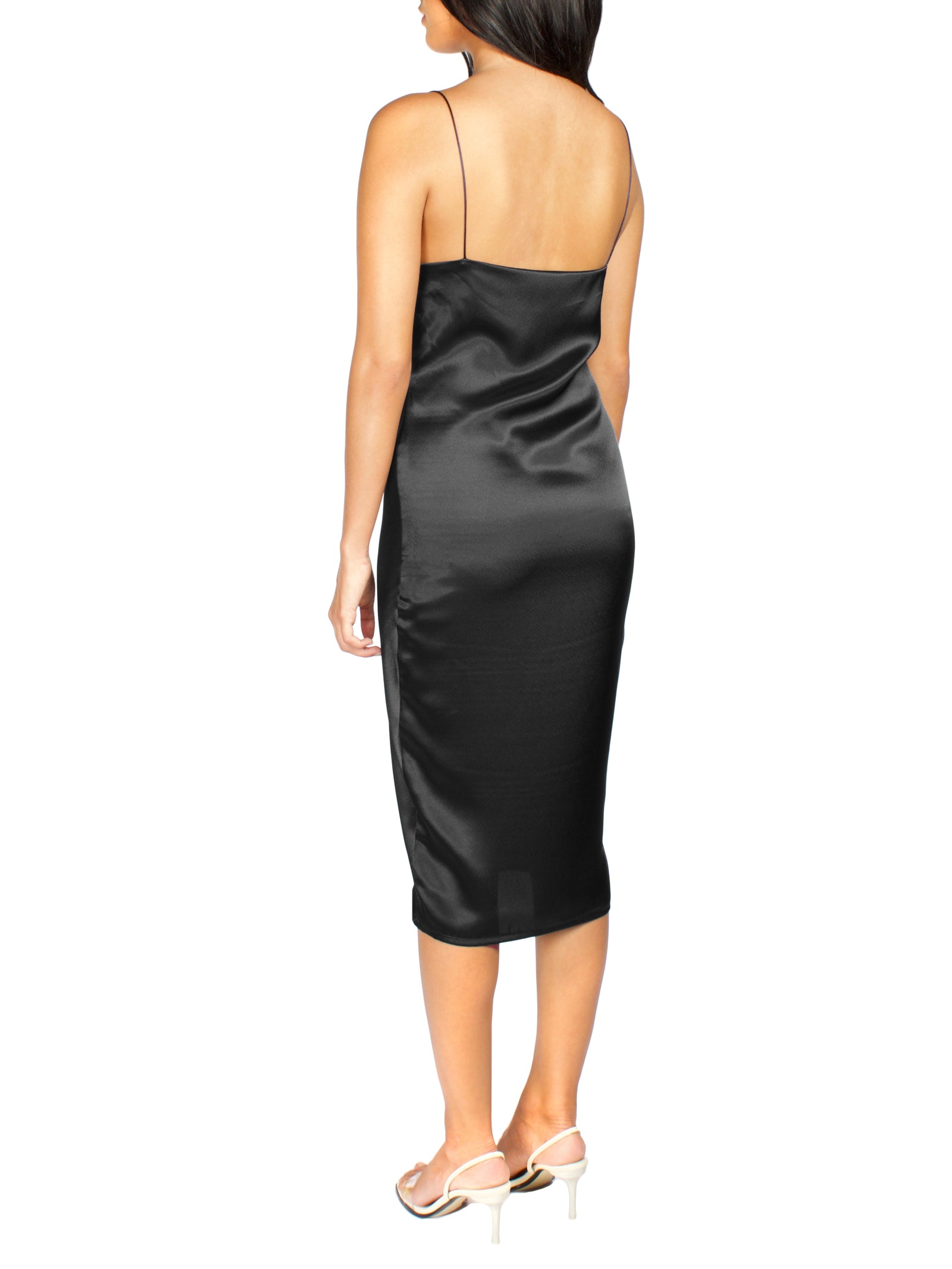 DREA Black MIDI Slip Dress - PRADEGAL