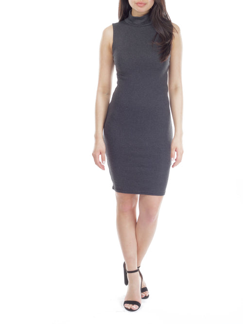 """Audrey"" Charcoal Sleeveless Turtleneck Dress - PRADEGAL"