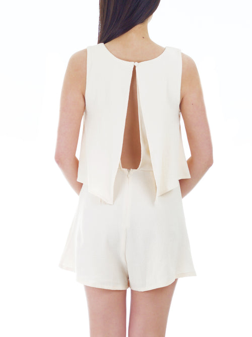 Open Back Ivory Romper - PRADEGAL