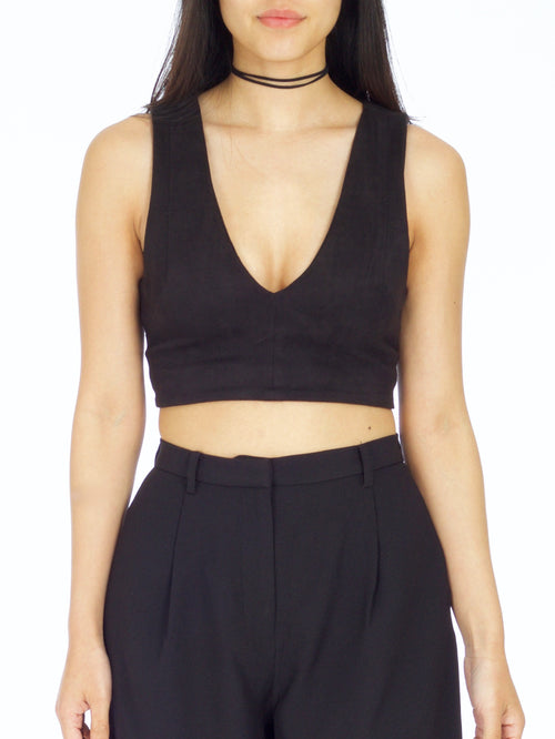 Black Suede Crop Top - PRADEGAL