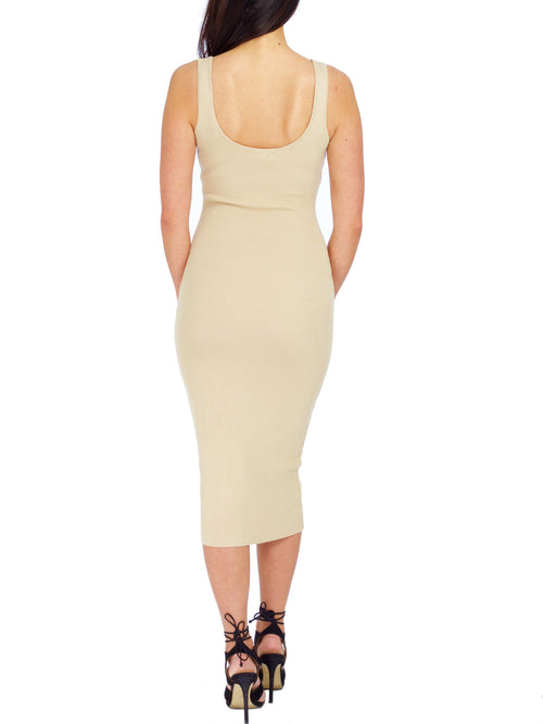 Basic Ribbed Midi Dress - PRADEGAL
