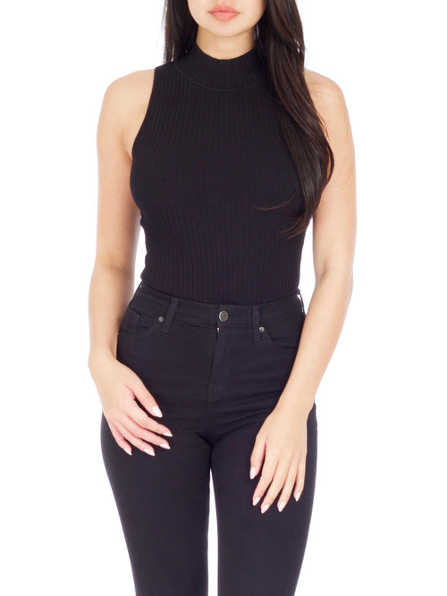 Tracy Ribbed Mock Neck Bodysuit - PRADEGAL