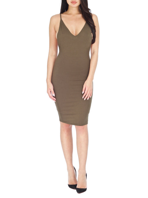 Olive Roxy Peek-A-Boo dress - PRADEGAL