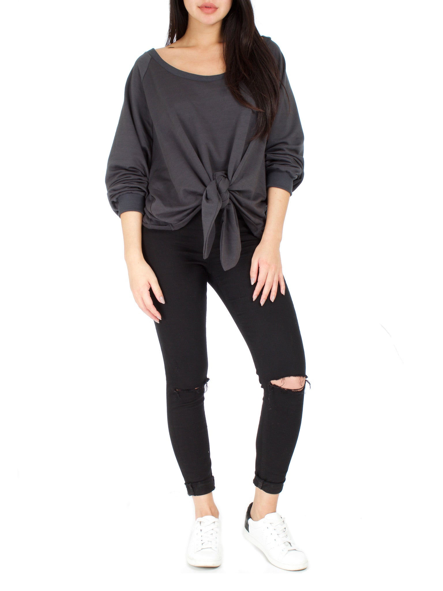 Oversized Front Tie Sweater - PRADEGAL