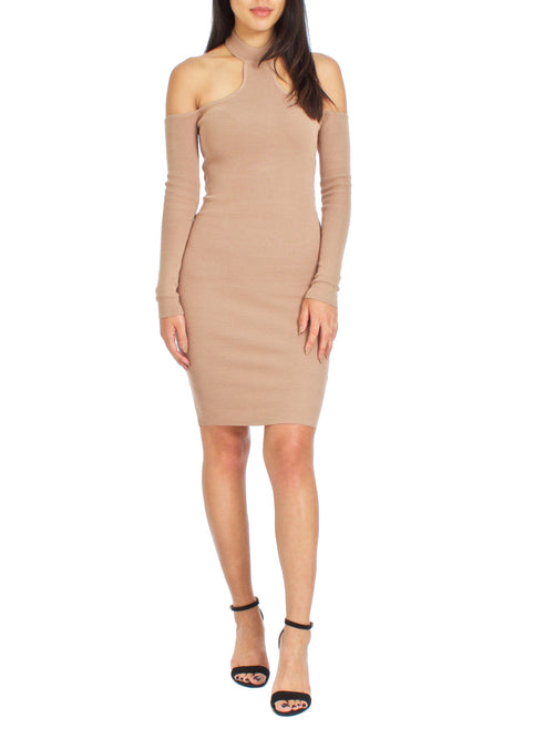 Mocha Cold Shoulders Ribbed Dress - PRADEGAL