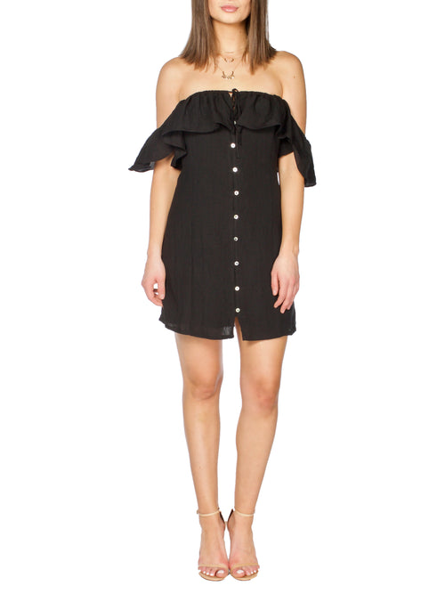 COHAN Black Ruffled Dress - PRADEGAL